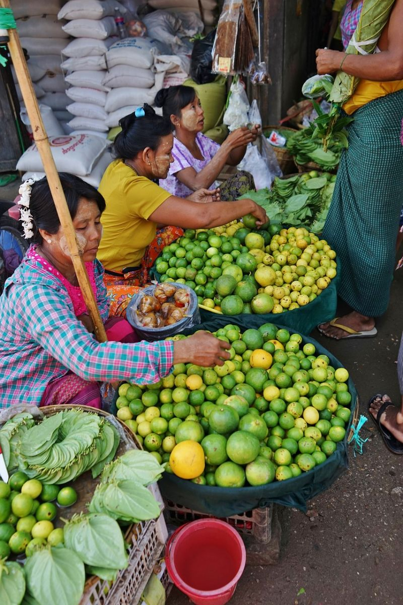 Fruit sellers at a market in Myanmar