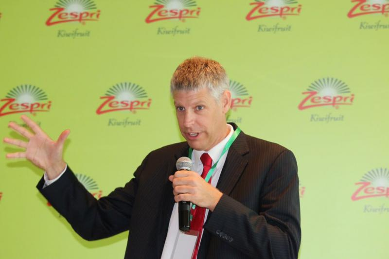 Lain Jager, Zespri CEO, speaks at an April 21 event in Shanghai